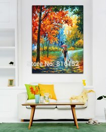 $enCountryForm.capitalKeyWord Canada - Palette Knife Painting Stroll in Park Road Fall Forest Landscape Canvas Printing Mural Art for Home Living Room Wall Decor