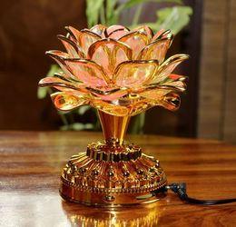 Discount lotus light buddha - LED lotus light colorful worship Buddha light sing chanting Buddha machine GongDeng buddhas