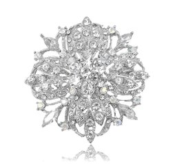 Chinese  2.2 Inch Vintage Silver Tone Bridal Flower Pattern Clear Rhinestone Crystal Diamante Brooch Women Jewelry manufacturers