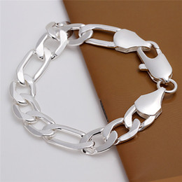 $enCountryForm.capitalKeyWord NZ - High quality 925 sterling silver plated Figaro chain bracelet 12MMX20CMM cool design fashion Men's Jewelry Free Shipping