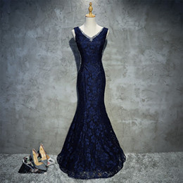 Really Dresses Australia - Really Photo Navy Blue Full lace V-Neck Backless Lace Up With Beaded Crystal Tank Mermaid Floor Length Long Evening Gown Vestido de noche