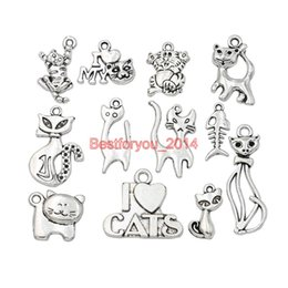 TibeTan silver caT pendanT online shopping - Mixed Tibetan Silver Plated Cat Charms Pendants For Jewelry Making Bracelet Craft DIY Findings Accessories Handmade