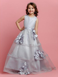 Organza Wraps For Wedding Dress Canada - Flower Girl Dresses Gowns Gray Scoop Neckline A-line Organza And Satin Floor Length 2015 New Design Dress For Little Girls Party Cheap Price