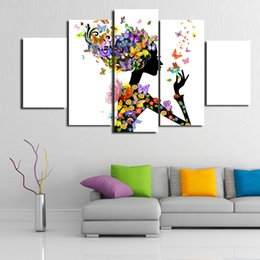 $enCountryForm.capitalKeyWord UK - 5 Panels Flower girl Modern Abstract Canvas Oil Painting Print Wall Art Decor for Living Room Home Decoration(Unframed Framear01