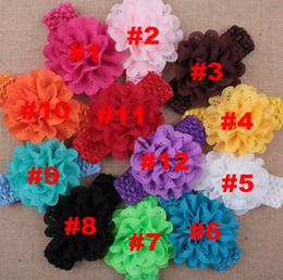 BaBy Bandanas crochet online shopping - Baby Girls Cheap Chiffon Flower Crochet Headbands Kids headwear Children Hair Accessories Christmas boutique Party Gift colors
