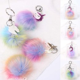 Artificial Chains Wholesalers Australia - New Fashion Multicolor Cute Unicorn Style Artificial Fur Ball Key Chain Handbag Pendant Charm Keyring Gifts Free Shipping