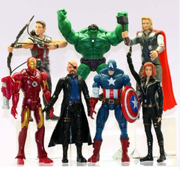 "Avengers Black Widow Figure NZ - The Avengers Movie Action Figures 6"" Black Widow Hawkeye Nick Fury PVC Figure Toys Dolls 7pcs set by DHL"