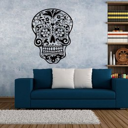 Wall Stickers Rock Canada - 2016 New Skull wall sticker Skull punk rock creative personality removable vinyl wall art stickers decals wall papers