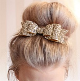 Big Wedding Hair Canada - New 2016 Design Women Bowknot Hair Pins Sparkling Gold Dust Pinch Cock Ladies Girls Wedding Big Size Hair Jewelry DCBJ658