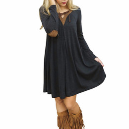 Wholesale big hem t shirt online – design High Quality Women Dress Spring Fall V Neck Patchwork Long Sleeve Big Hem Mini Short T Shirt Dresses Vestidos Casual Style FG1511