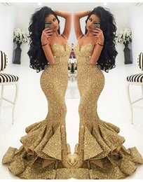gold sequined mermaid Australia - Custom Made Mermaid Prom Dresses Sweetheart Floor Length Sequined Dresses Party Evening Bling Holiday Gold Prom Dresses Vestidos De Fiesta