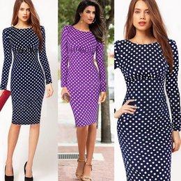 Barato Vestidos Mais Longos Do Negócio Do Comprimento-Retro Dots Pencil Work Dress Dark Blue Luva longa OL Vestido Bodycon Comprimento do joelho Sexy Evening Party Business Euro Pinup Celeb Dresses OL032