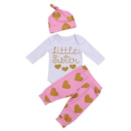 cute baby clothes wholesale UK - 2017 New Kids Clothing Baby Girl Clothes Set Little Sister Print Cotton Romper Heart Pants Hat Baby Girls Outfits Children Clothing 0-24M