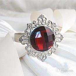 vintage napkin holders 2019 - 100PCS Silver Plated Burgundy Dark Red Vintage Style Napkin Rings Wedding Bridal Shower Napkin holder,Bling Acrlic Cryst