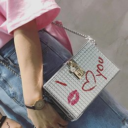 summer evening party bags brand designer Dinner bag box shape lock handbags  chain crossbody shoulder bags ladies Graffiti purse 4a6ca501accf