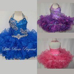 Barato Vestidos Curtos Da Sequin Dos Miúdos-2015 Cute Blue Purple Pink Short Flower Girl Vestidos Halter Beads Sequins Bow Sash Ruffles Organza Kids Pageant Vestidos Custom Made