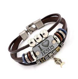 $enCountryForm.capitalKeyWord Canada - DHL I LOVE JESUS Charm Bracelets Vintage Fish Pendant Christian Multilayer Leather Bracelets for Mens Women Bangle