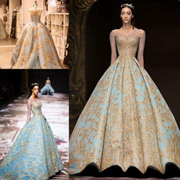 Wholesale Michael Cinco Gold Lace Ball Gown Prom Queen Dresses Modest Illusion Long Sleeve Sky Blue Plus Size Dubai Arabic Evening Dress