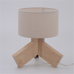 Wood Desk Lamp Creative Simple Table Lamp Natural Color Living Room  Children Room Bedside Solid Wood Fabric Lamp Shade Table Lights Part 52