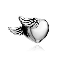 bracelet charms angels UK - Fashion women jewelry bracelet Mothers Day angel wing heart love spacer bead large hole charms for beaded bracelets