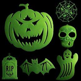 2015 new horror luminous witch ghost pumpkin bat tombstone skull halloween prop glow evil party favor scary halloween decoration cheap halloween decorations - Discount Halloween Decorations
