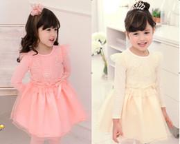 Korean Necked Girls Online Shopping Spring Autumn Dress Girls Flower Dress Child Princess Gauze Girls