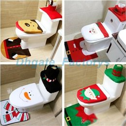 2018 cloth seats New 4 styles Christmas Toilet Seat Cushion Bathroom creative layout supplies Three piece suit Christmas decorations disc