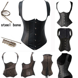 Full Steel Boned Corsets Canada - Full Steel Bone Waist Training Corset Sexy Bustiers Hanging Shoulder Training Corset Women Push Up Hot Body Shapers Fashion 3 Styles