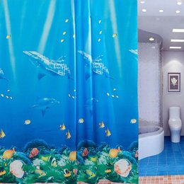 Digital Printing Classic Blue Dolphin Shower Curtain Opaque Personalized  Waterproof Mildew Thickening Bathroom Curtain 180cm * 180cm
