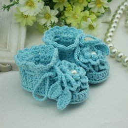 $enCountryForm.capitalKeyWord NZ - Handmade Crochet Baby Shoes blue flower girl crib shoes Crocheting Baby Shoes Woven Boots for Baby Shower Greetings