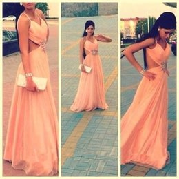 chiffon coral gown sale Canada - Hot Sale Bead Sequins Coral A-Line Long Formal Evening Dresses With Straps No Sleeve Chiffon Elegant Sexy Party Prom Dress Gowns Exquisite
