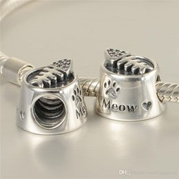 c0b02060e 5 pcs lot cat bowl charms beads authentic original S925 sterling silver  fits for pandora style free shipping leaves ALELW561H8