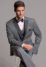 Three Piece Suit Bow Australia - Light Grey Tuxedos Slim Fit Mens Wedding Suits Peaked Lapel Groom Wear Three Pieces Cheap Formal Suit(Jacket+Pants+Vest+Bow Tie)