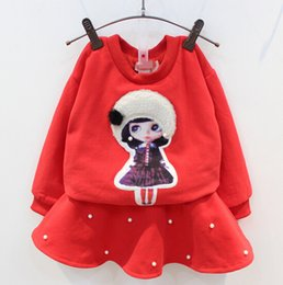 Jupe Longue À Lacets Pas Cher-Enfants de coton fixés pour 2015 Winter Thicked Sweatshirt + jupe 2 Pcs Set Kids Cartoon perles Suit 5pcs / lot 100-140 Fit 3-8 Age SS351