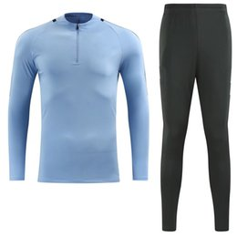 Costumes Pour Hommes Angleterre Pas Cher-1718 Angleterre bleu lune homme ville Raheem et Sergio Sterling costume de formation de football Ag ero bleu chandail à manches longues costume hommes de football trainin