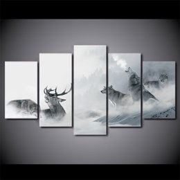 Art Canvas Prints Australia - 5 Pcs Set Framed HD Printed White Howling Wolf Group Deer Wall Canvas Print Poster Asian Modern Art Oil Paintings Pictures