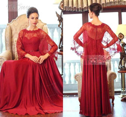 Discount long dresses south africa - Arabic Plus Size Evening Dresses Red Sheer Neck Long Sleeve Sweep Train Lace Prom Dresses South Africa Occasion Gowns BO