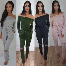 Barato Macacão Feminino Macacão-Rompers Womens Jumpsuit 2017 Outono Sexy Slash Neck Off Shoulder Long Playsuits Elastic Waist Hole Solid Casual Overalls