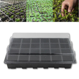plant boxes NZ - 5Set 24 Holes Seedling Nursery Box Pots Tray With Lid Flower Plants Seedling Planter Garden Farmland Gardening Tools Supplies Black
