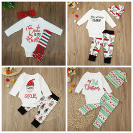 Wholesale Baby Xmas outfits infant newborn baby outfits kids car Christmas tree print hat romper pants set children cotton suits Styles