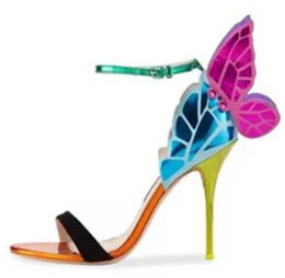 Chinese  Angel wings women sandals open toe buckle ankle strap butterfly female stiletto high heels party shoes sandals zapatos mujer manufacturers