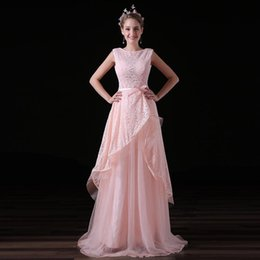 Barato Vestido Rosa Tull-Cheap Pink Long Wedding Dresses Backless Lace Bow Lace Tull Tiered Sem mangas Scoop Neck Formal Prom Evening Gown Custom Made Plus Size