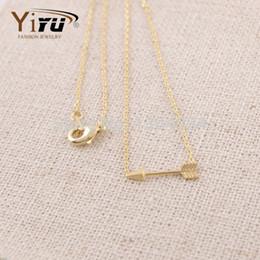 $enCountryForm.capitalKeyWord Canada - Wholesale-2015 New Simple Arrow Pendant Necklace for Women Trendy Long Chain Couple Necklaces N003