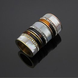 $enCountryForm.capitalKeyWord Australia - Fashion Titanium Stainless Steel Wide White shell & Crystal Rings , Yellow gold Rose Gold Silver Metal Colors Women Men Wedding Band Jewelry