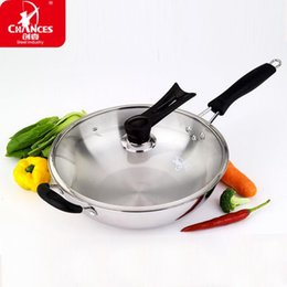 hot sale stainless steel wok pan nonstick frying pan cooking pots chinese wok cooker 30cm