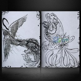 Dessins De Dessins Pas Cher-Vente en gros-78 Page Chinese Mythic Rosefinch Flash Tattoo Manuscripts Design Book Sketch Hot