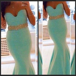 Chinese  Mint Mermaid Evening Dresses Sexy Sweetheart Neckline Rhinestone Ruffle Cheap Long Formal Dresses Party Prom Pageant Gowns Plus Size manufacturers