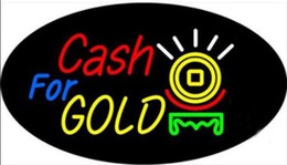 "17 gold UK - Cash For Gold Neon Sign Custom Handmade Real Glass Tuble Shop Store Motel Restaurant Paying Display Neon Signs W black plasticBase 17""X10"""