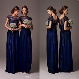 Barato Mangas Da Dama De Honra Da Marinha-Cheap 2015 Navy Blue Sheer Lace Chiffon Long Vestidos de dama de honra com mangas tampadas Maid of Honor Plus Size Formal Evening Prom Dresses 2016