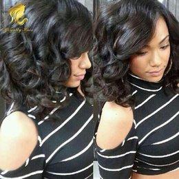 $enCountryForm.capitalKeyWord NZ - Best and Cheap Short bob Wavy#1b Lace Wig Bob Style Glueless Peruvian Human Hair Lace Front Wigs for black women